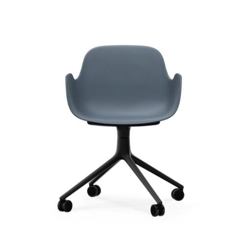 Normann Copenhagen Form Swivel bureaustoel zwart aluminium onderstel-Blue