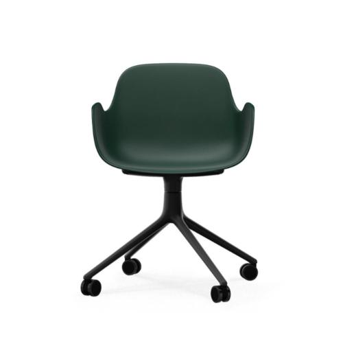 Normann Copenhagen Form Swivel bureaustoel zwart aluminium onderstel-Green