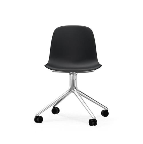 Normann Copenhagen Form Swivel zonder arm bureaustoel aluminium onderstel-Black