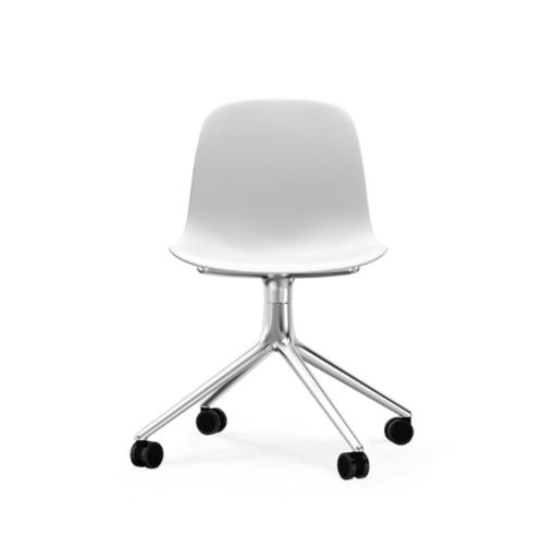 Normann Copenhagen Form Swivel zonder arm bureaustoel aluminium onderstel-White