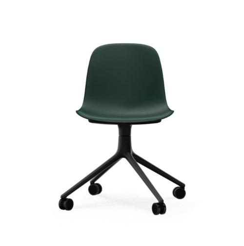 Normann Copenhagen Form Swivel zonder arm bureaustoel zwart onderstel-Green