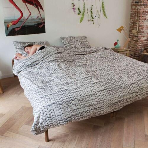 Snurk Twirre Cool Grey FLANEL dekbedovertrek-240x200/220 cm