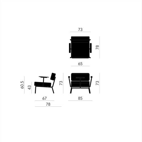 Studio HENK Ode Lounge Armchair zwart frame-Steelcut Trio 3-713