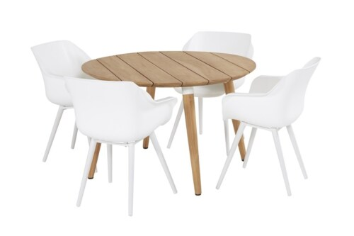 Hartman Sophie Studio Teak round tafel-Licht grijs