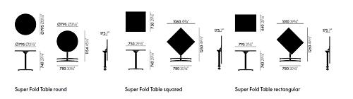 Vitra Super Fold Table rechthoekige 80x64 eettafel-Zwart