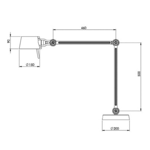 Tonone Bolt 2 Arm Foot bureaulamp-Ash grey