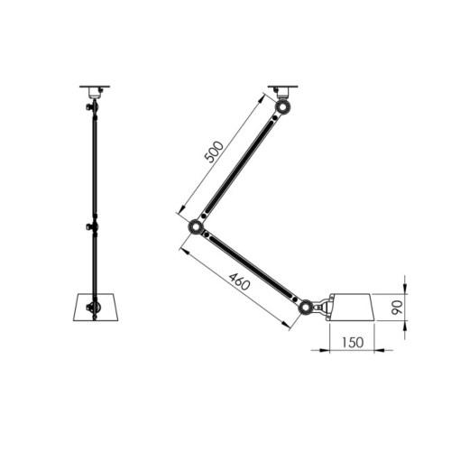 Tonone Bolt 2 Arm Side Fit Install plafondlamp-Thunder blue