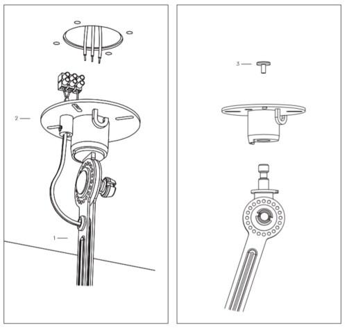 Tonone Bolt 1 Arm Under Fit Install plafondlamp-Ash grey