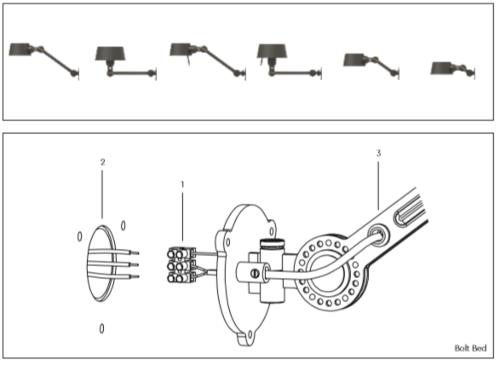Tonone Bolt Under Fit Install wandlamp-Striking orange