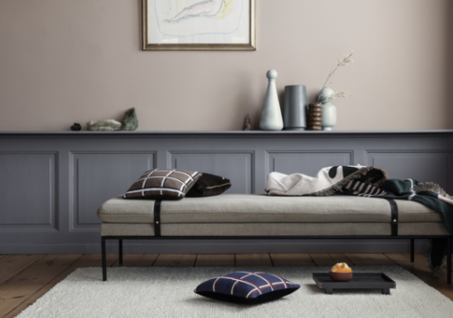 Ferm Living Turn Daybed bank naturel band-D. Green/L. Grey