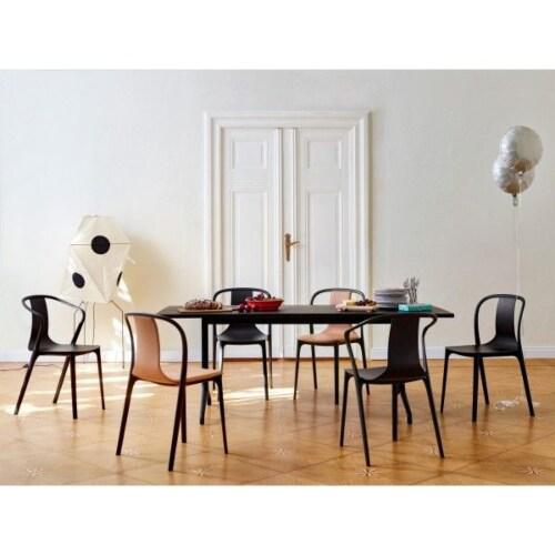 Vitra Belleville Chair gestoffeerde stoel-Leer / zwart