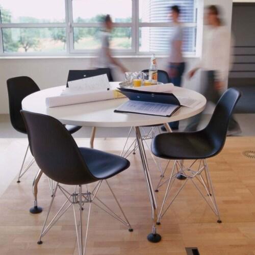 Vitra Eames DSR stoel met verchroomd onderstel-Wit