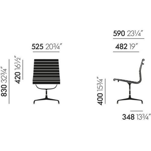 Vitra EA 105 stoel-Leer / zwart