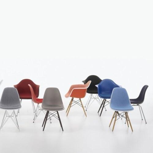 Vitra Eames DSR stoel met verchroomd onderstel-Mosterd geel