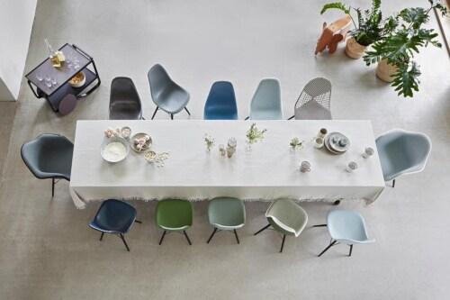 Vitra Eames DAX stoel met wit onderstel-Licht grijs
