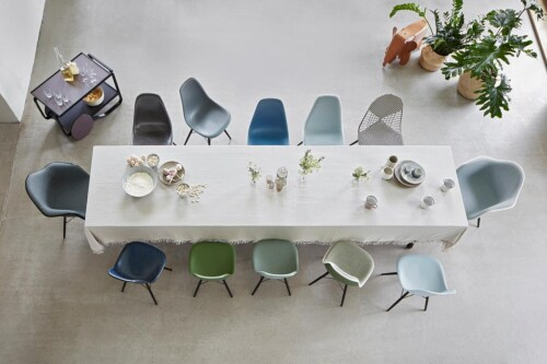 Vitra Eames DAX stoel met wit onderstel-Roest oranje