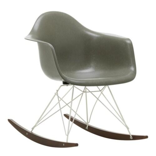 Vitra Eames RAR Fiberglass schommelstoel met wit onderstel-Elephant Hide Grey-Esdoorn donker