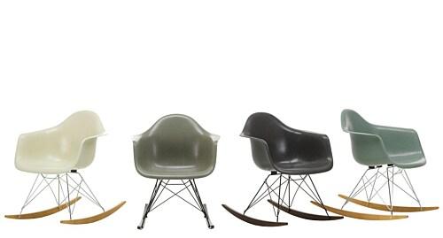 Vitra Eames RAR Fiberglass schommelstoel met wit onderstel-Parchment-Esdoorn goud