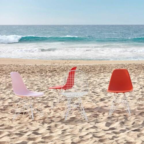 Vitra Eames DSR stoel met wit onderstel-Poppy red