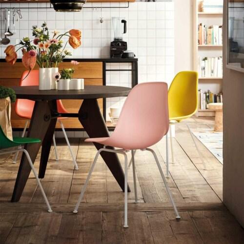 Vitra Eames DSX stoel met wit onderstel-Zacht roze