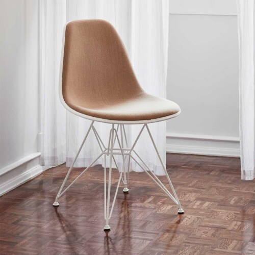 Vitra Eames DSR stoel met wit onderstel-Pebble