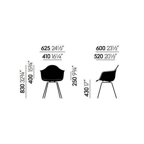 Vitra Eames DAX stoel met wit onderstel-Pebble