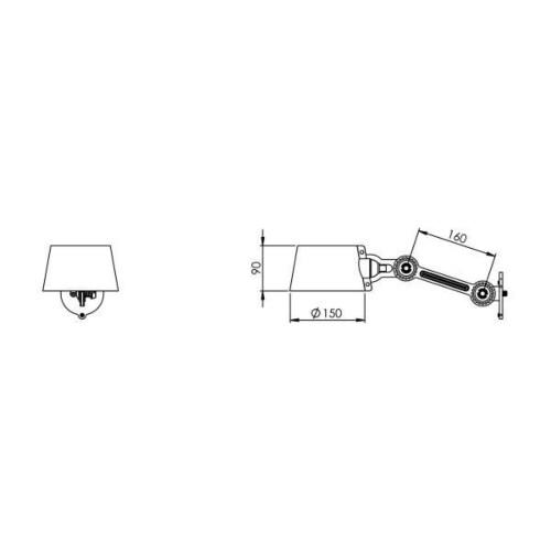 Tonone Bolt Side Fit Small wandlamp-Midnight grey