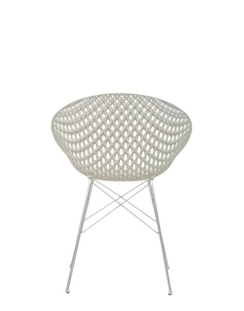 Kartell Smatrik stoel-Wit-verchroomd