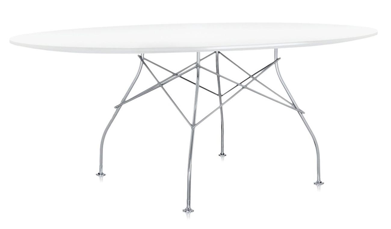 Kartell Glossy tafel-Zilver-wit