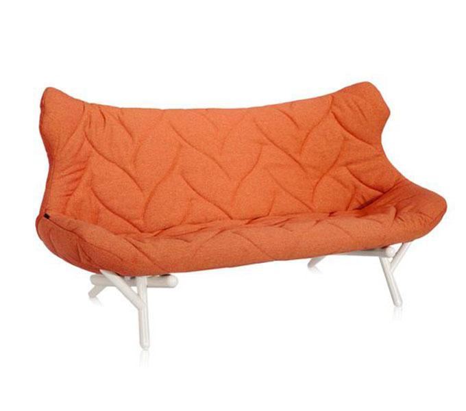 Kartell Foliage bank-Frame wit-Trevira oranje