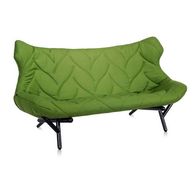 Kartell Foliage bank-Frame zwart-Groen