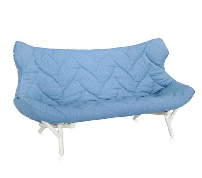 Kartell Foliage bank-Frame wit-Trevira blauw