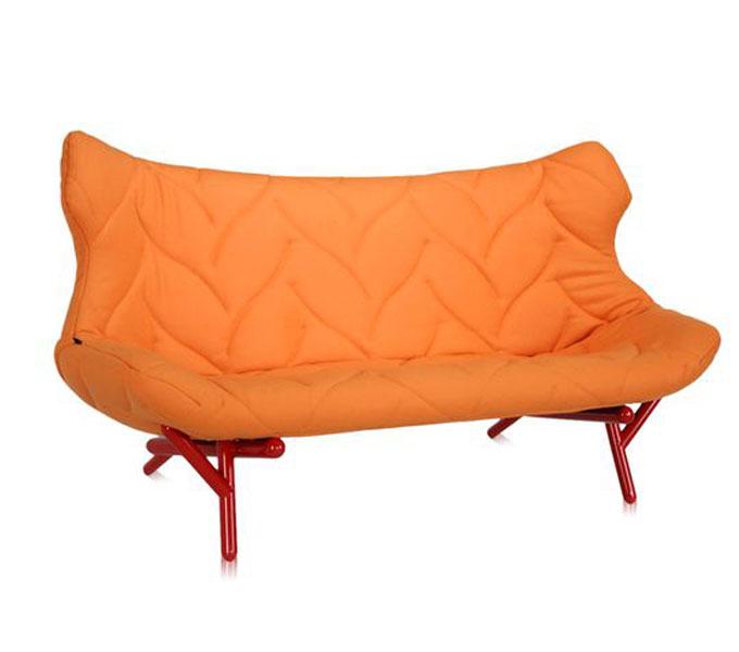 Kartell Foliage bank-Frame rood-Trevira oranje