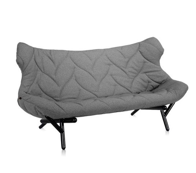 Kartell Foliage bank-Trevira grijs-Frame zwart