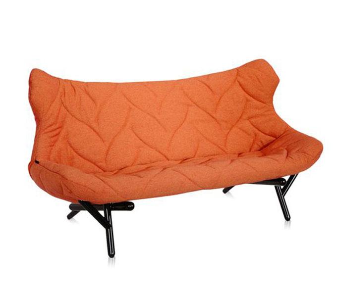 Kartell Foliage bank-Frame zwart-Trevira oranje