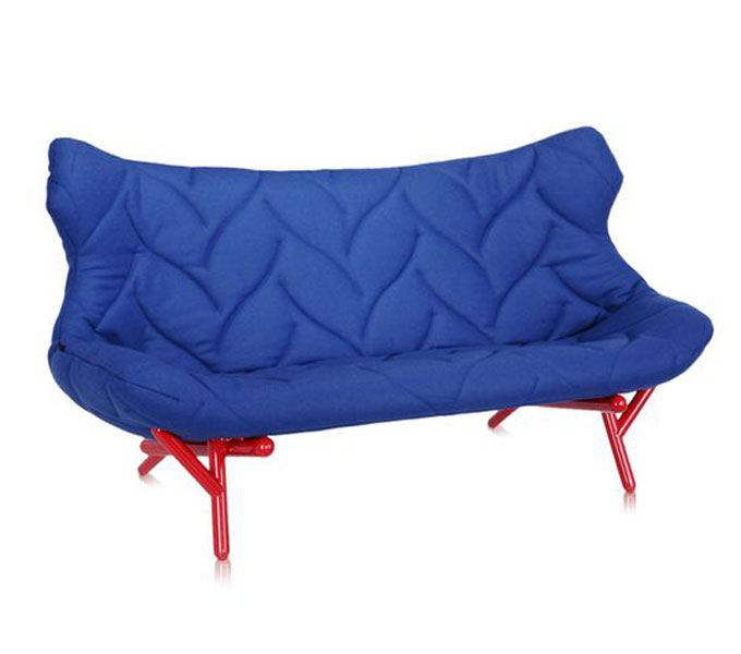 Kartell Foliage bank-Frame rood-Blauw