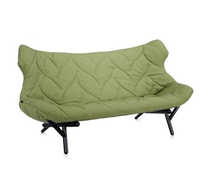 Kartell Foliage bank-Trevira groen-Frame zwart