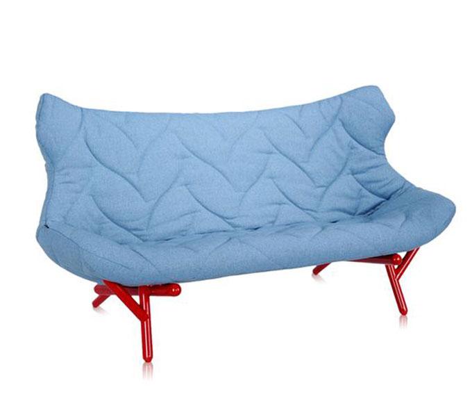 Kartell Foliage bank-Frame rood-Trevira blauw