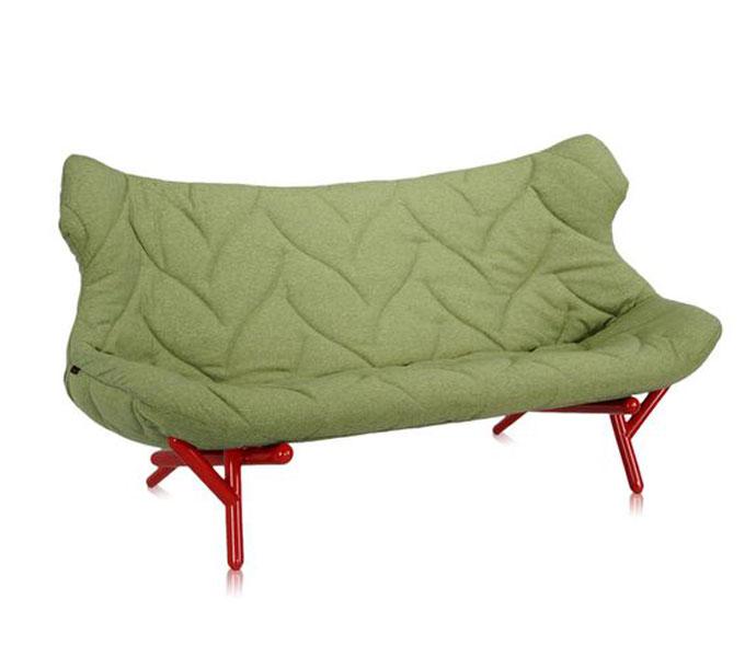 Kartell Foliage bank-Frame rood-Trevira groen