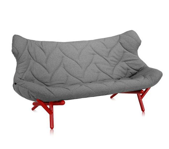 Kartell Foliage bank-Frame rood-Trevira grijs