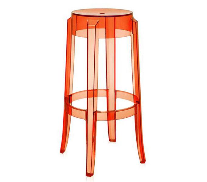 Kartell Charles Ghost kruk-Oranje-Zithoogte 75 cm