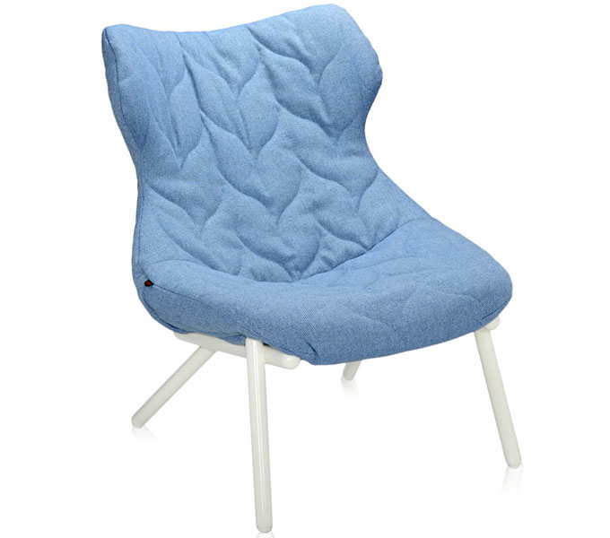 Kartell Foliage stoel-Frame wit-Trevira blauw