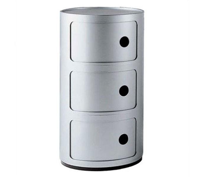 Kartell Componibili kastje -Zilver-3 hoog