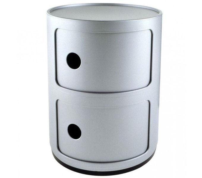 Kartell Componibili kastje -Zilver-2 hoog