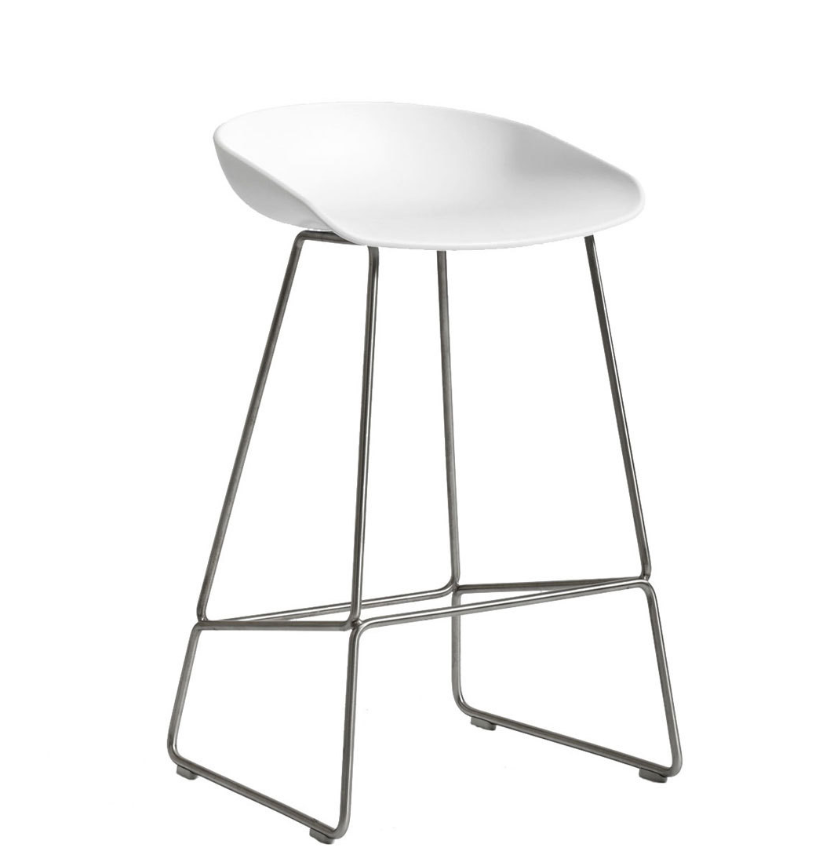 HAY About a Stool AAS38 barkruk RVS onderstel Wit OUTLET